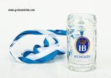 Hofbrauhaus HB Beer Mug Shot Glass with Ribbon Lanyard