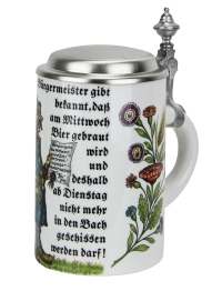 Porcelain beer stein with pewter lid