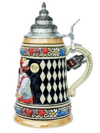 Bavarian German Arm Wrestler Ceramic Beer Stein