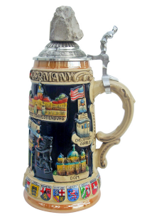 Ceramic Beer Stein with Real Piece of Berlin Wall