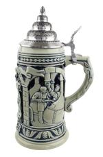 Ceramic beer stein with cobalt lid