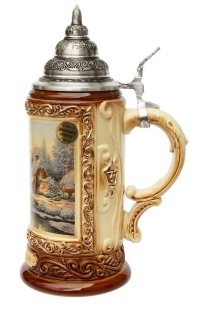 Xmas Gift Beer Stein with Pewter Lid